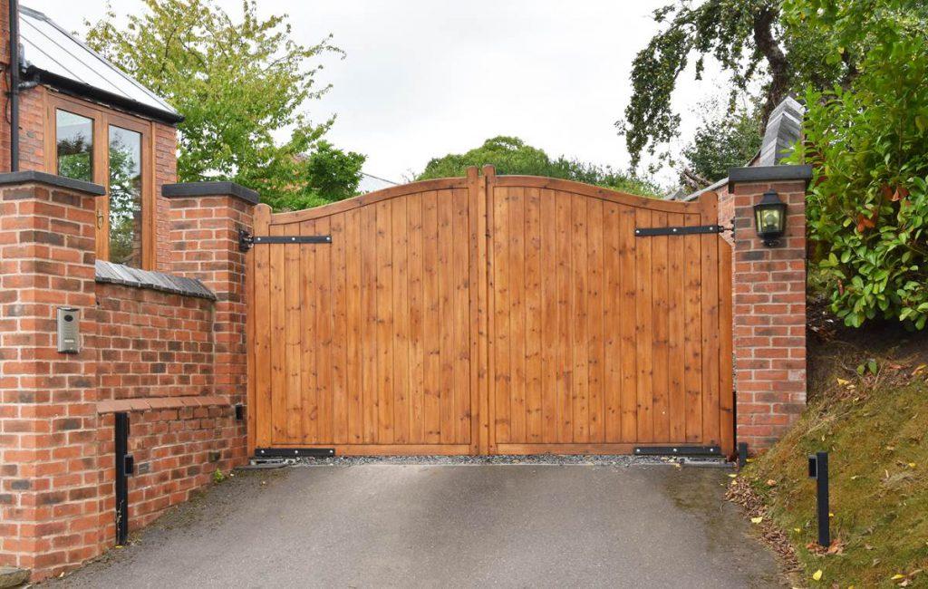 Custom Built Wood Driveway Gates
